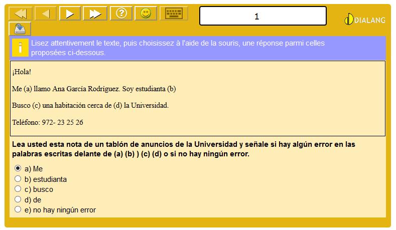 Exemple de test de langue (espagnol) via l'outil Dialang en ligne