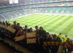 Photo de groupe dans le stade de Twickenham en attendant le coup d'envoi...