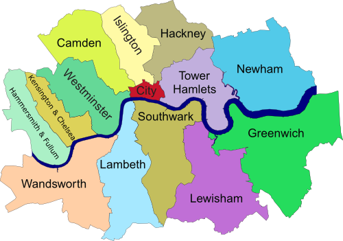 La carte des arrondissements du Centre de Londres (borough
